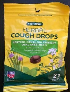 NEW Rite Aid Natural Herbal Menthol Cough Drops  *GLUTEN FREE *