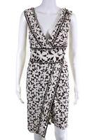 Diane Von Furstenberg Women's Sleeveless Wrap Dress SIlk Beige Brown Size 6
