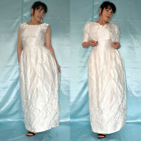 White Embroidered Wedding Gown+Bolero S (38) Shiny Wedding Dress, Prom Dress