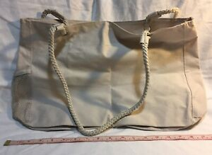 """Rope-Handle Off-White Nylon Tote Bag with Zip-Top Closure - 18"""" x 12"""" x 4"""""""