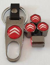 Citroen Red Titanium grey Wheel Valve Dust caps & Spanner/Keychain All Models