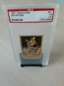 1951 Parkhurst Hockey #41 Jim Peters Chicago Blackhawks Wing PSA Graded Fair 1.5