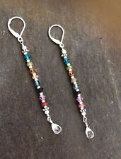 DESIGNER WATERMELON TOURMALINE EARRINGS STERLING SILVER LEVERBACK JEWELRY GIFT