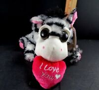 "Zebra Plush Valentine Stuffed Pink Heart Love You Toy NEW 10"" L Dan Dee Big Eyes"