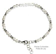 PULSERA MAMA PLATA de LEY 925 Bolas de Plata y Perlas Cultivadas largo 17 a 19cm