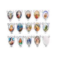 50Pcs Holy Catholic Religious Crosses Enamel Medals Charms2-to-1 Connexctor 15mm