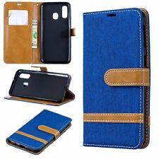 Samsung Galaxy A40 Hülle Case Handy Cover Schutz Tasche Flip Schutzhülle Blau