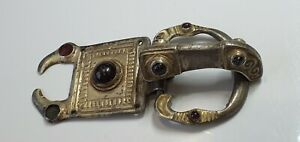 0818. Large Gothic Gilt Silver Eagles-Headed Buckle 5th-6th century AD