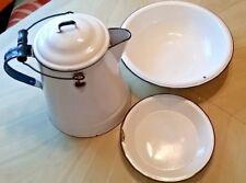 Vintage Enamelware Coffee Pot W/ Wood Handle& Wash Basin+Pan!!!