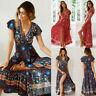 Women Floral Clothes Short Sleeve Vintage Boho Maxi Long Split Dress Dresses
