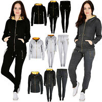 New Ladies Women GOLD ZIP GYM Wear Pullover Hooded Joggers Tracksuit SET 8-18 UK