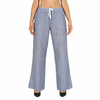 Womens Ladies Linen Pull On Casual Trousers Womens Summer Holiday Summer Pants