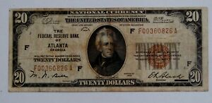 1929 - $20 Note Federal Reserve Bank of Atlanta - Well Circulated