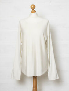 Vince M White Horizontal Ribbed Dolman Sleeve Knit Sweater w Cashmere Boatneck