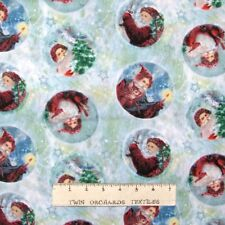 Christmas Fabric - Giordano Studio Santa Claus Portrait Blue - Spectrix YARD