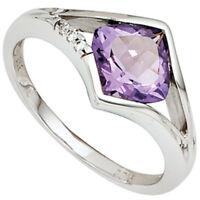 Ring Damenring mit Amethyst & 3 Diamanten Brillanten, 585 Weißgold, Goldring