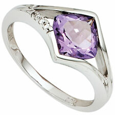 Ring Women's Ring With Amethyst & 3 Diamonds, 585 White Gold, Gold Ring