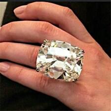 #9 Luxury 925 Silver White Topaz Band Ring Women Proposal Wedding Jewelry Gift