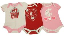 NCAA Washington State Cougars Infant Girls 3 Piece Creeper Bodysuit New