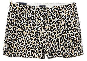 "J.Crew Factory Women's 8 - NWT - 3.5"" Leopard Animal Print Cotton Chino Shorts"