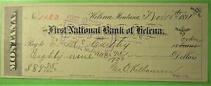 Bank checks on Helena, Montana 1891, First National Bank, E. McCarthy