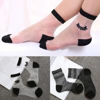 New Women Fashion Crystal Sheer Thin Ice Silk Black Soft Lace Ankle Short Socks
