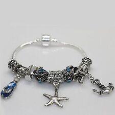 Italian European Style Bracelet Charm Bead Sunset Beach Sea Ocean Wave