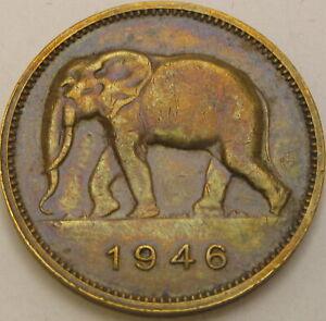 BELGIAN CONGO 2 Francs 1946 - Brass - VF+ - 638 ¤