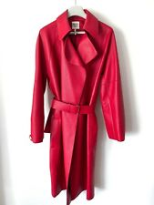 HERMES RED DEERSKIN LEATHER COAT Rouge Trench Manteau Jacket Size 38 EU 2018
