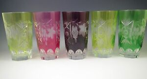 NACHTMANN TRAUBE SET OF 5 HIGHBALL GLASSES, CUT TO CLEAR,  HARLEQUIN