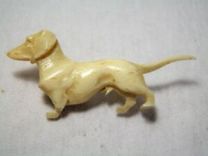 Antique Early Celluloid Bovine Carved Dachshund Pin Brooch Damaged