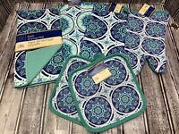 6 Pc Blue Green Medallion Kitchen Set Dish Towels Oven Mitt Pot Holders Dish Mat