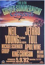 Neil Young / Jethro Tull / Msg / King Crimson 1982 German Concert Tour Poster