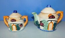 Vintage Small Tea Pot & Sugar Bowl, House In Garden, Made In Japan, Approx 5""