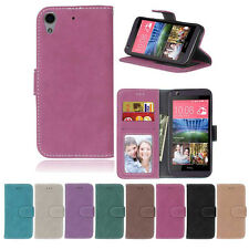 Retro Frosted Card Wallet Leather Skin Flip Case Cover For HTC One M8 M9 626 830