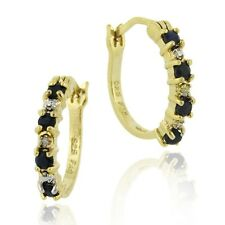18K Gold over 925 Silver 2/5ct Sapphire & Diamond Accent Hoop Earrings