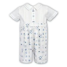 BNWT DESIGNER SARAH LOUISE BABY BOY WHITE/BLUE SAILOR OCCASION ROMPER AGE 12MTHS