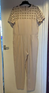 RIVER ISLAND Pink Geometric Cut-Out Chest Zip Back Jumpsuit One Piece UK 14