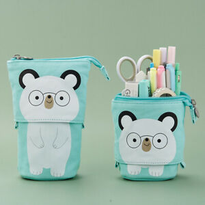 Cartoon Cute Cat Pencil Pouch Canvas Pen Bag Standing Stationery Case Holder