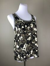 3776e443885e3 Elizabeth and James Women s Silk Floral Scoop Neck Contrast Trim Tank Top  Sz XS