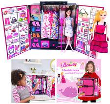 2 Bambole Fashion + Armadio e tanti accessori Scarpe Borse Pattini Specchio spaz