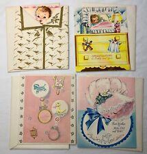 Vintage New Baby Greeting Cards Unused With Envelopes Die Cut Precious!