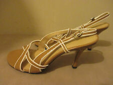 Tahari Taboo Size 7 1/2  M Womens Strappy Slingback High Heels Brown And White