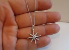 925 STERLING SILVER STAR DESIGN PENDANT NECKLACE W/ 1 CT ACCENTS / NEW DESIGN!