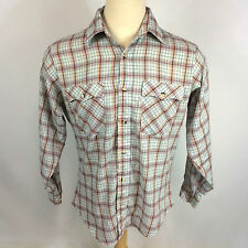 Vintage 70's Levis Strauss Fleck Western Surf Plaid Work Board Shirt Mod Atomic
