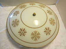 """MID CENTURY ATOMIC CEILING LIGHT GOLD STARBURST FROSTED GLASS SHADE 16¾""""W 1960's"""