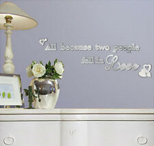 ALL BECAUSE TWO PEOPLE FELL IN LOVE MIRRORED wall stickers 9 mirror decals decor