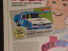 ~NASCAR RACE STOCK CAR LABONTE PLASTIC MODEL KIT T-SHIRT PRINT AD~ VINTAGE 1985