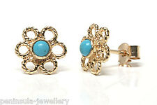 9ct Gold Turquoise Stud earrings Made in UK Gift Boxed studs