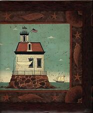 COUNTRY FOLKART LIGHTHOUSE AND ANCHORS WALLPAPER BORDER